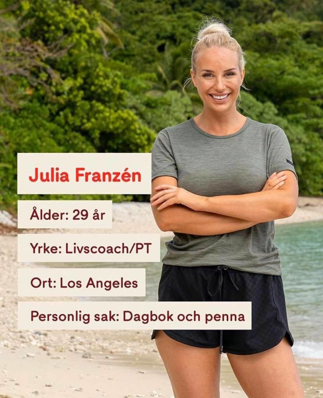 Julia Franzén i Robinson 2020