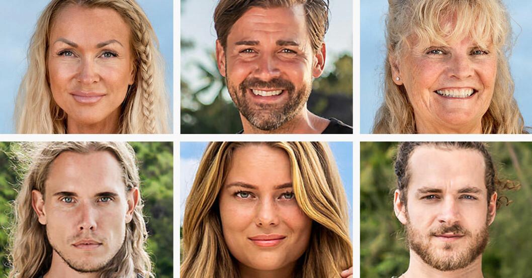 Nina Ekstrand, Jonas Carlsson, Pia Åkerman, Fabian Thingwall, Cissi Wallin Nilsson och Cruise Ferreira i Robinson 2020.