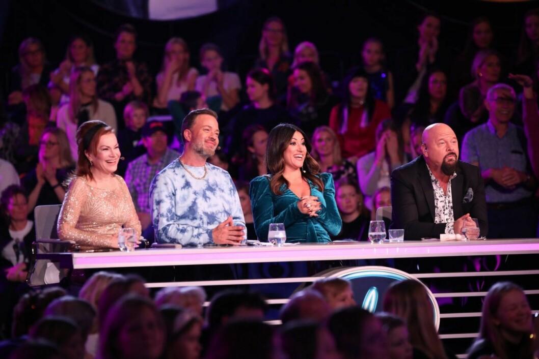 Anders Bagge tillsammans med jury-kollegorna i Idol: Kishti Tomita, Nikki Amini, Alexander Kronlund.