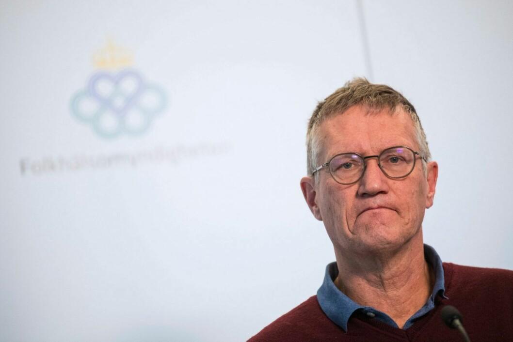 Anders Tegnell under en presskonferens om Coronaviruset.