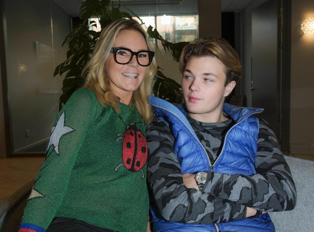 Magdalena med sonen Lance Hedman.
