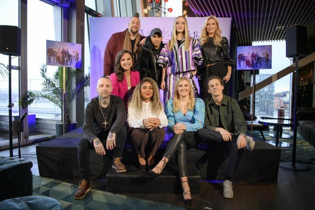 Hela gänget i årets Stjärnornas stjärna: Nano, Jon Henrik Fjällgren, Amanda Winberg, Jessica Andersson, Petra Mede, Nicke Borg, Mapei, Elisa Lindström och David Lindgren.