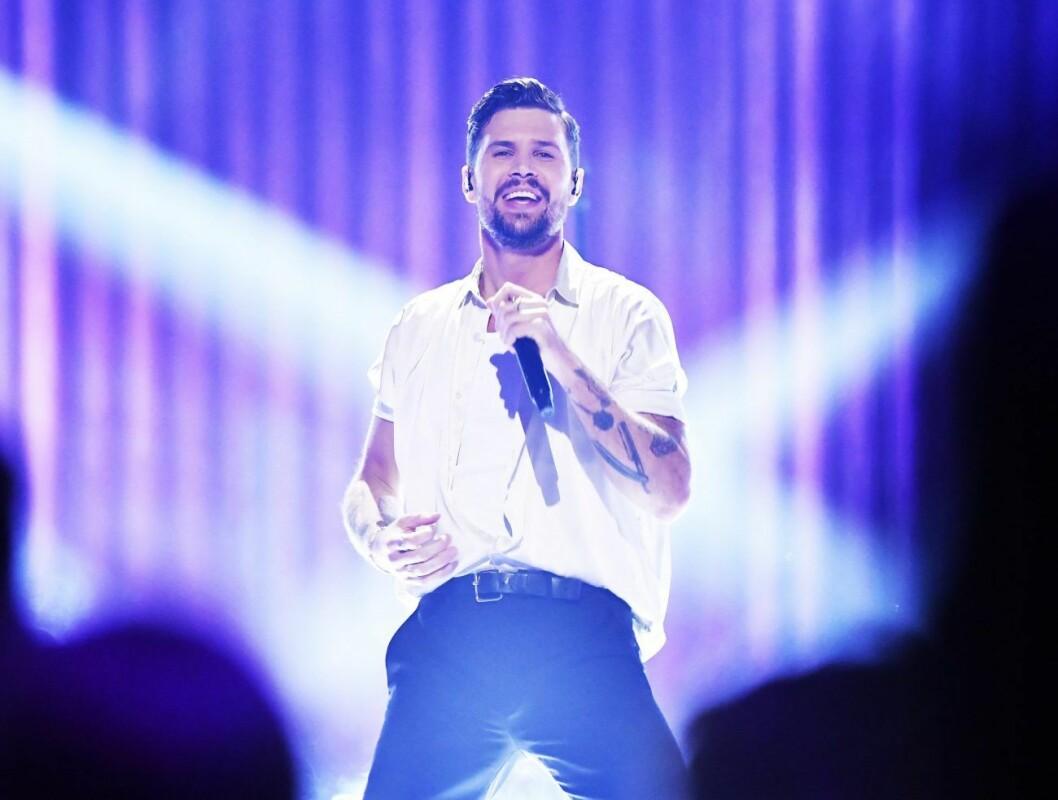 Robin Bengtsson under årets Melodifestivalen-final.