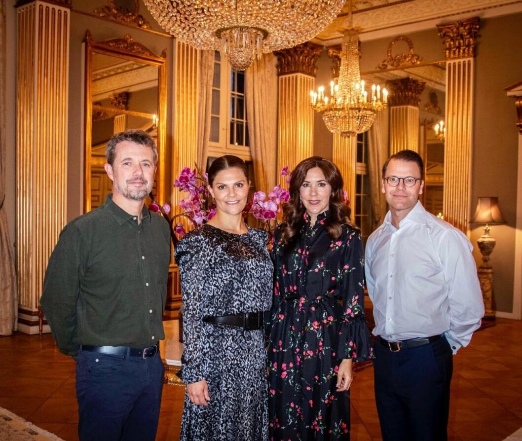 Kronprins Frederik, kronprinsessan mary, kronprinsessan Victoria och prins Daniel