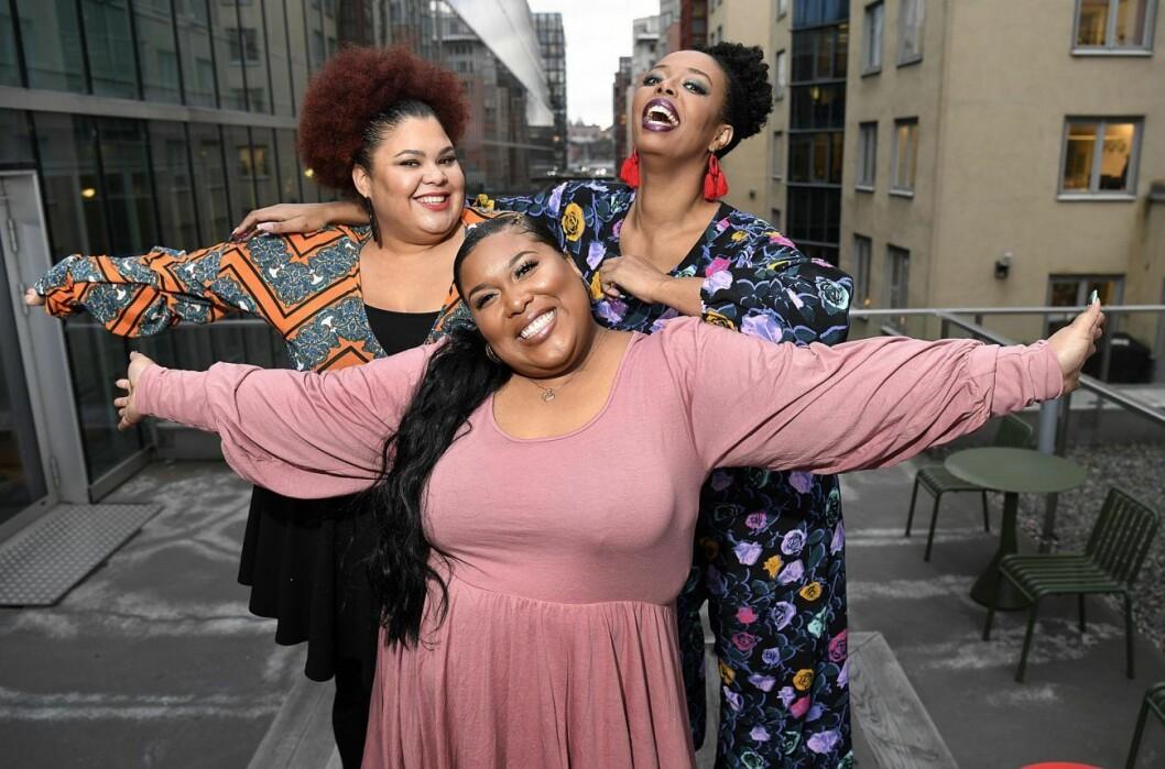 The mamas med Loulou Lamotte, Ashley Haynes och Dinah Yonas Manna sjunger i lördagens deltävling av Melodifestivalen.