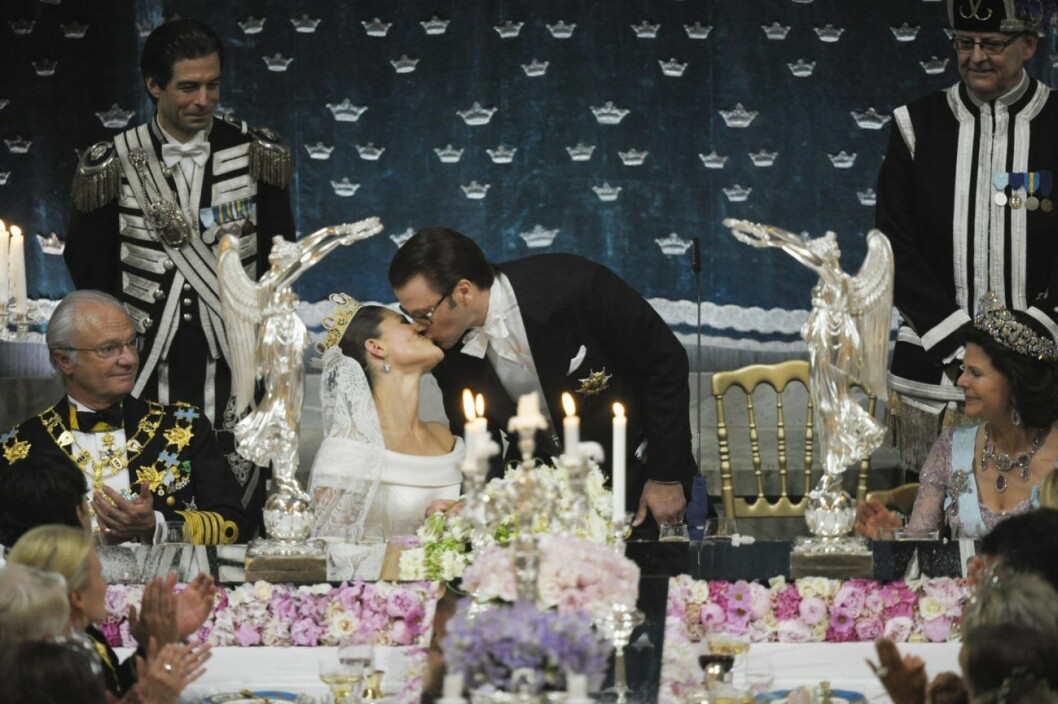 Victoria och Daniels bröllopskyss