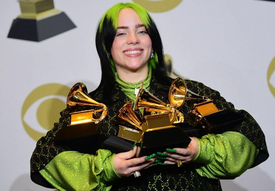18-åriga Billie Eilish blev historisk när hon tog hem pris för Årets album, Årets skiva, Årets låt och Årets nya artist.