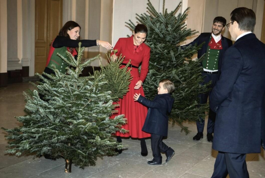 Det var en entusiastisk prins Oscar som fick ta emot slottets julgranar.