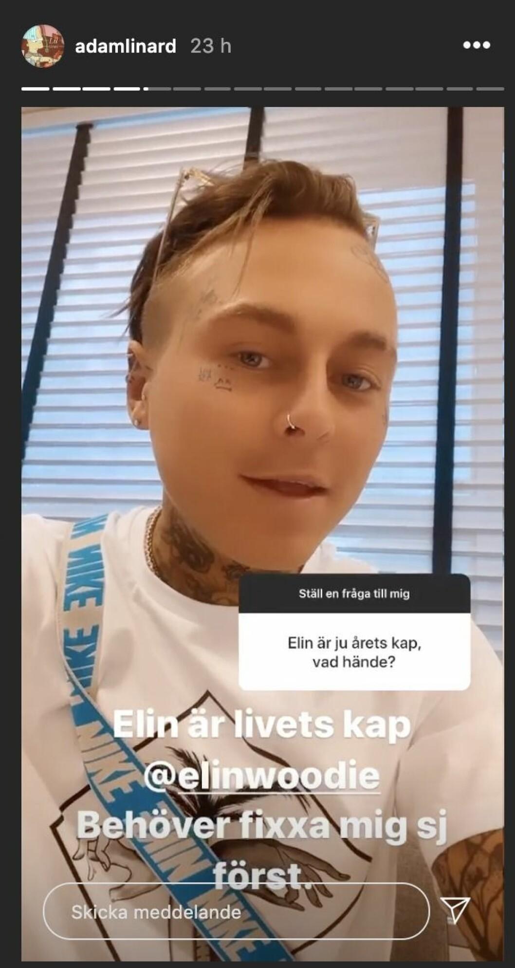 Adam Linards Instagram story
