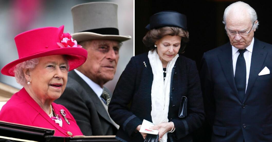 Drottning Elizabeth, prins Philip, drottning Silvia, kung Carl Gustaf