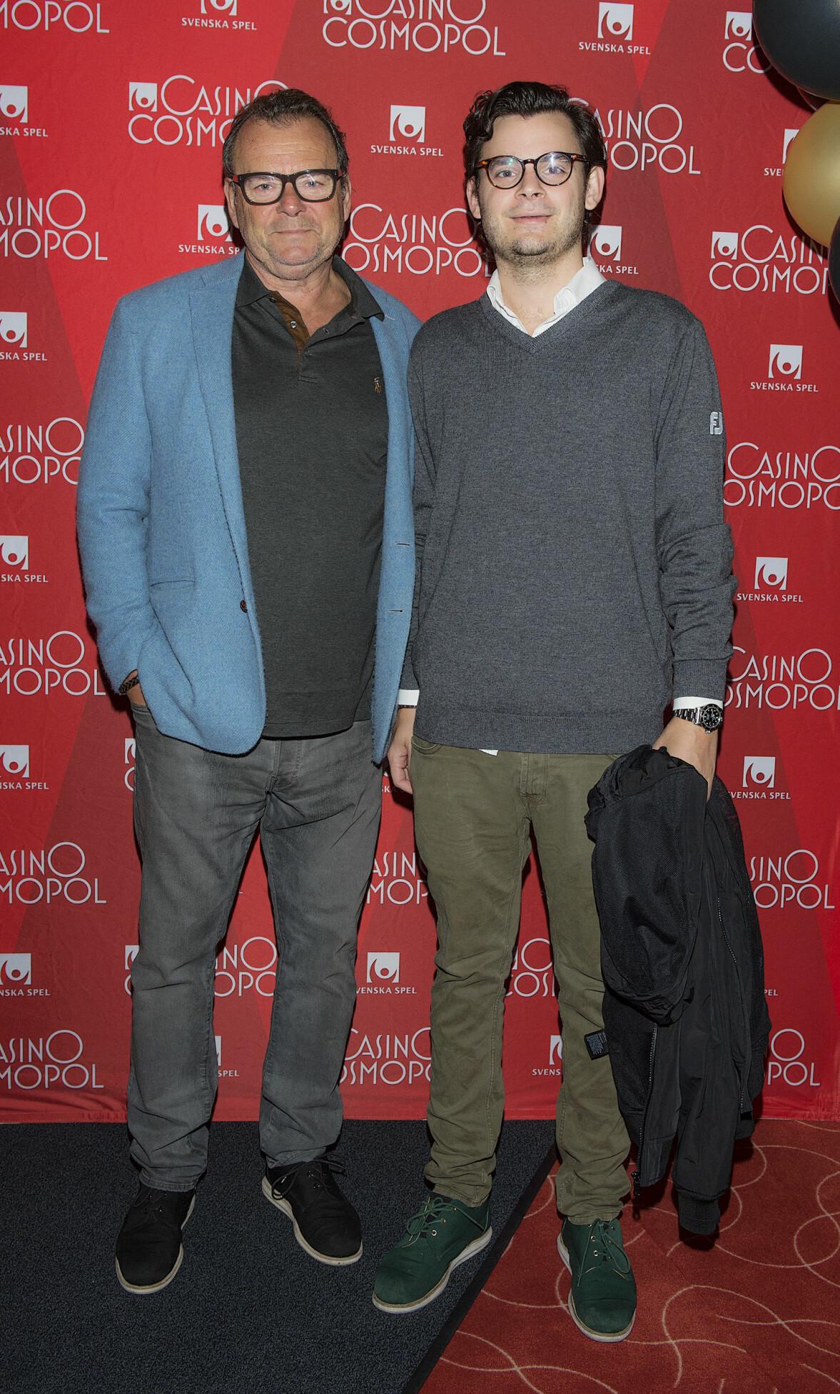 Steffo Törnquist och sonen Max Törnquist under en lunchinvigning av Casino Cosmopol 2017.