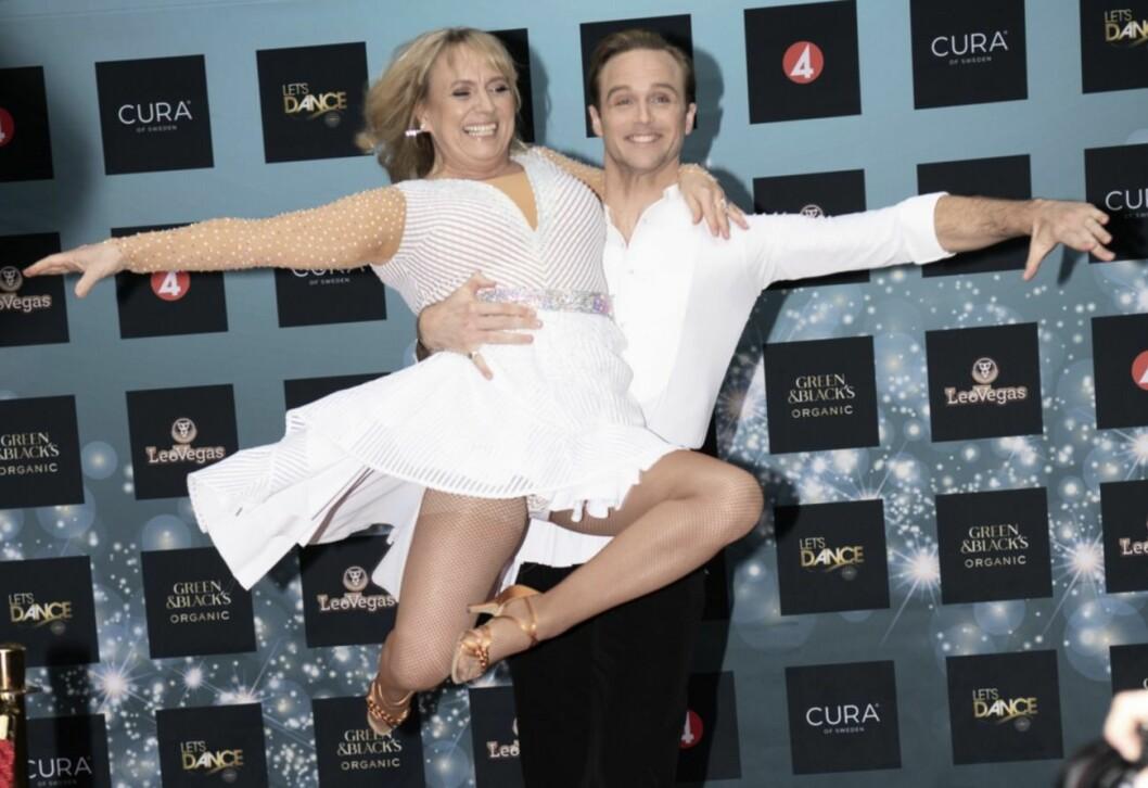 Calle Sterner och Sussie Eriksson på pressträffen för Let's dance 2020