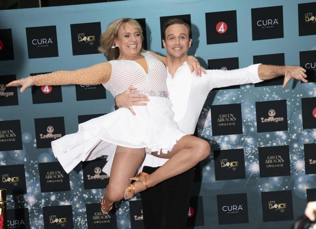 Sussie Eriksson och Calle Sterner på pressträfför för Let's dance 2020.