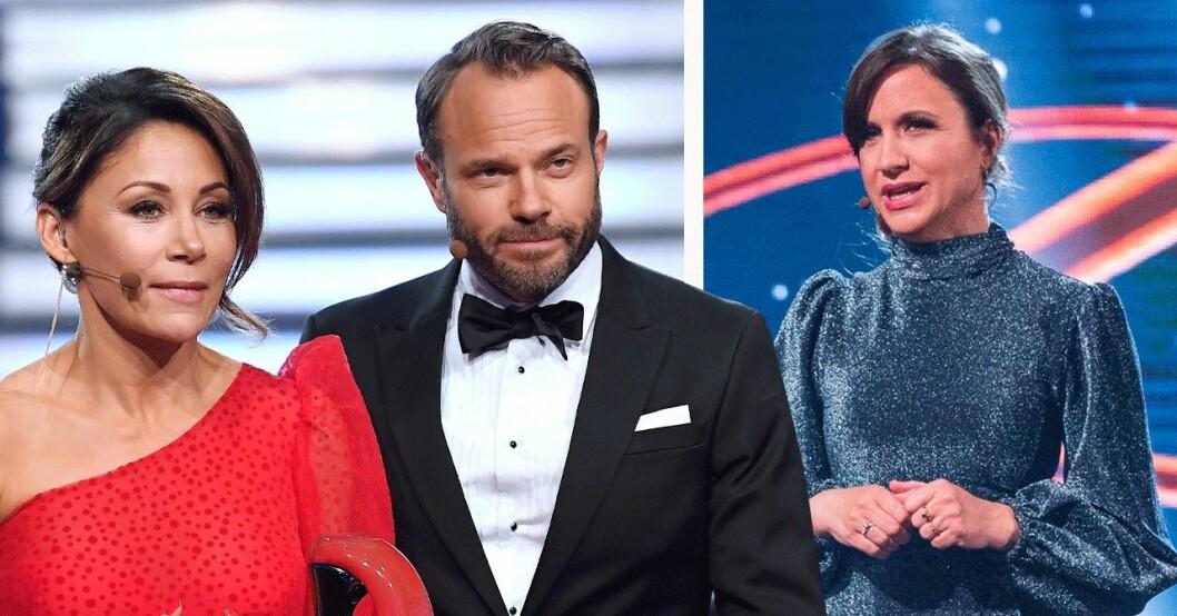 TV4-programledarna Tilde de Paula Eby, David Hellenius och Petra Mede