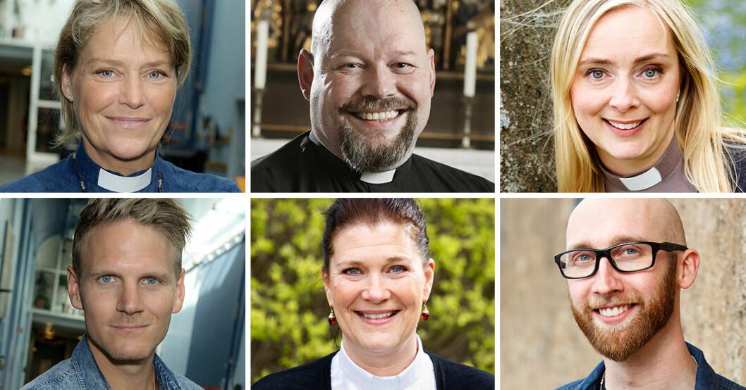 Åsa Meurling, David Castor, Kristina Lethin, Josef Barkenbom, Jessica Menzinsky och Filip Wennerlund från SVT:s Tro, hopp och kärlek.