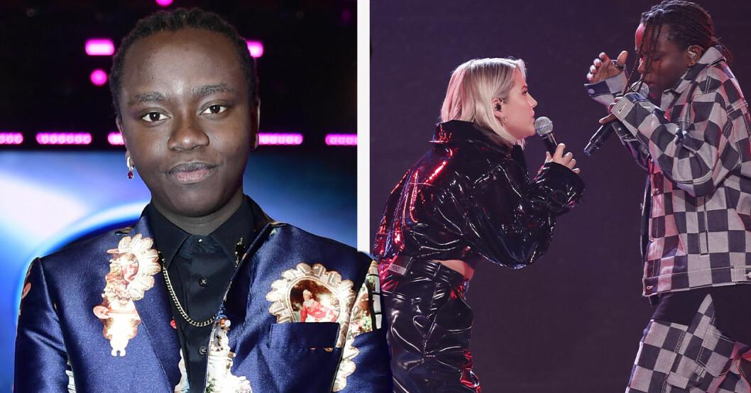 Tusse Chiza i mönstrad kostym, sjunger duett med Molly Sandén