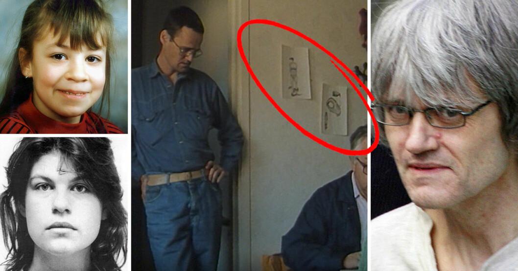 Ulf Olsson visade upp sina teckningar av offren Helén Nilsson och Jannica Ekblad i Tom Alandhs dokumentär Kronofogden kommer 1993.
