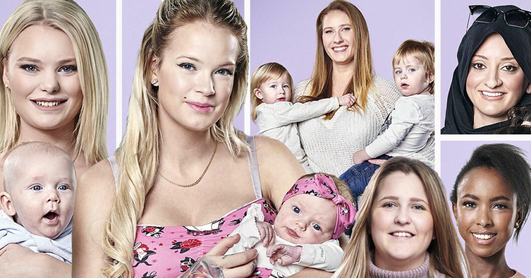Ellinor Bjurström, Natalie Eklind, Luma Alalawi, Niffi Sjöberg, Fayme Elmén och Sonia Kamikazi i Unga mammor 2019.