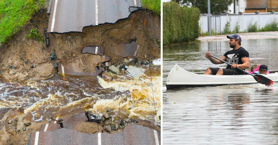 Översvämning och kanot