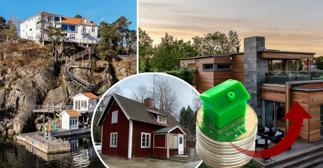 Villapriserna ökar, allra kraftigast i storstadsregionerna.