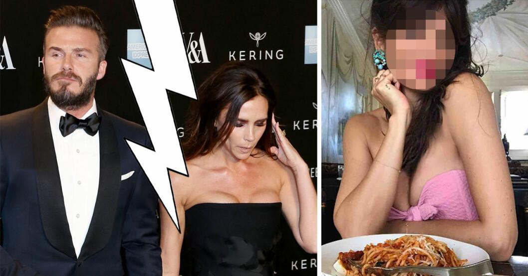 David Beckham har setts vara intim med den danska supermodellen Helena Christensen till hans fru Victoria Beckhams stora skräck.