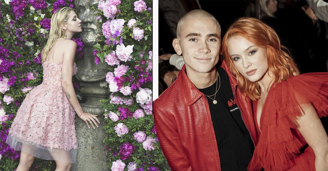 Zara Larsson och Felix Sandman i röda kläder