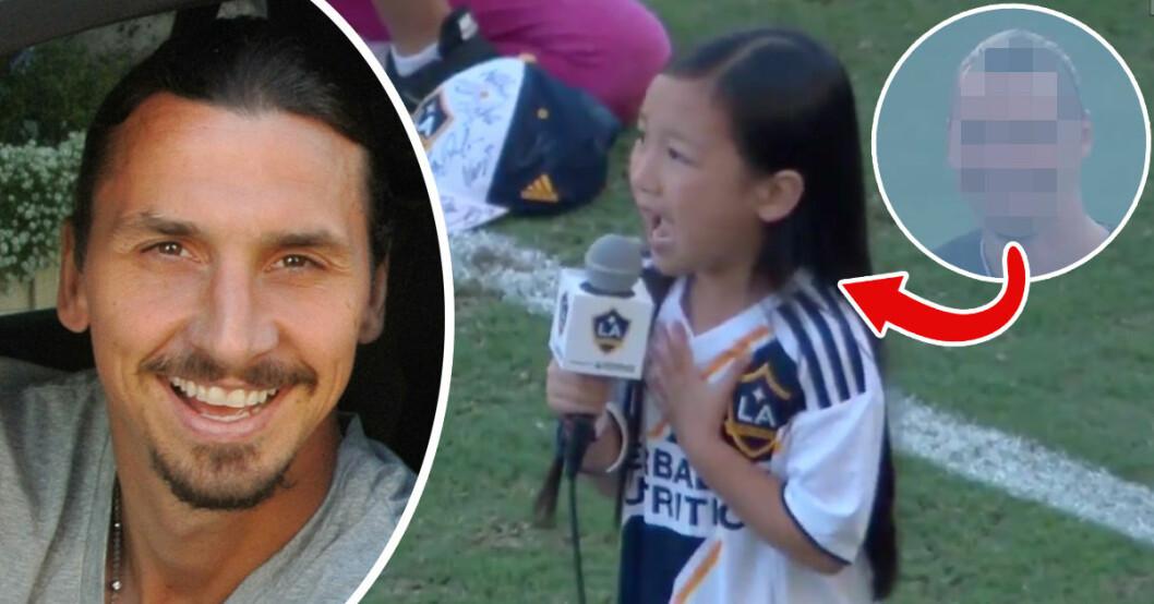 Zlatan Ibrahimovic hyllar 7-åriga Malea Emma när hon sjunger USA:s nationalsång under en fotbollsmatch.